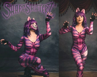 Pink Cheshire Cat Inspired Scoop Neck Catsuit Costume with No Tail or Tail Printed on to the suit