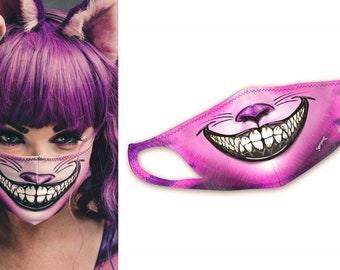 Pink Cheshire Face Mask | Cool, Stretchy, Washable, & Reusable Face Masks