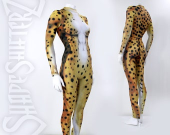 High Collar Cheetah Bodysuit Costume  WITH Separate Tail