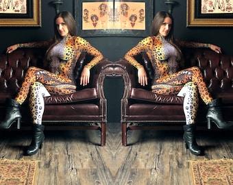 High Collar Leopard Bodysuit Costume W=