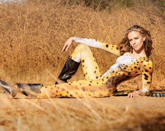 Cheetah Scoop Neck Catsuit Costume with Separate Hanging Tail