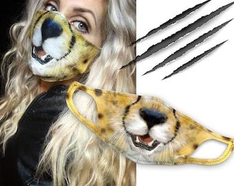 Cheetah Cat Masks | Cool, Stretchy, Washable, & Reusable Face Masks