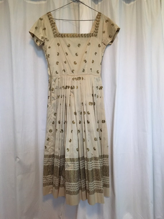 Vintage 1950's Printed Gold L'Aiglon Dress