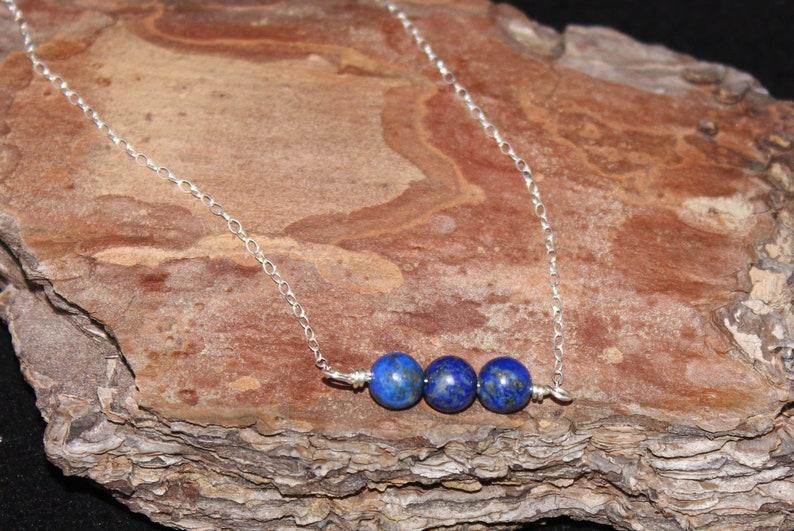 Dainty Three Gemstone Bar Necklace \u2013 Lapis Lazuli Necklace \u2013 Sterling Silver \u2013 Everyday Jewelry \u2013 Minimalist