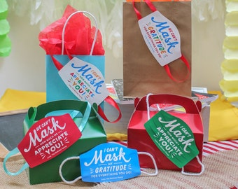 Can't mask our gratitude PRINTABLE gift tag, mask gift tag, thank you gift tag, staff/teacher appreciation, nurses week, Just Add Confetti
