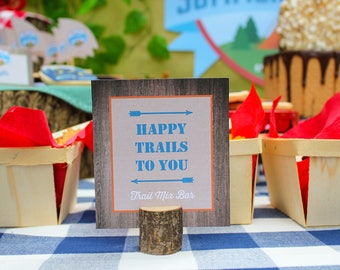 Summer Camp Birthday Party food signs, bottle labels, table decor - camp party, camping, s'mores, glamping, printable, DIY, matching