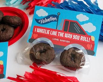 Donut monster truck valentine, donut valentine, kids valentine, school valentine, classroom valentine, Just Add Confetti - INSTANT DOWNLOAD