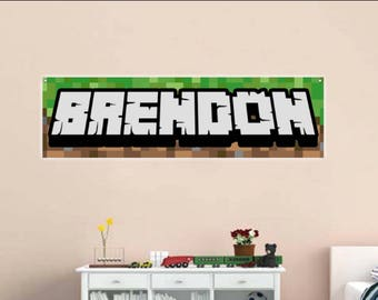 Personalized Gamer Name Reusable BANNER - 3d looking Gamer Room Wall Pixel Background - Pixel Party Decor for Miners turns into Room Decor