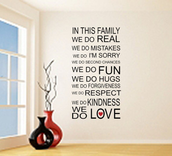 in this family we do love vinyl wall quote sticker family | etsy