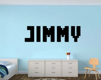 Personalized Name decal in a bitmap blocky arcade letter font - Gamer Name bitmap decal - Removable Wall Vinyl Decal Sticker