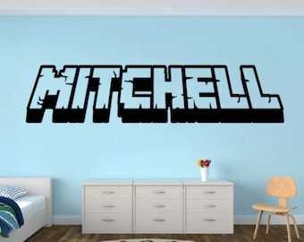 Personalized Gamer Name wall decal - 3d looking Gamer Room Wall Vinyl Decal Sticker