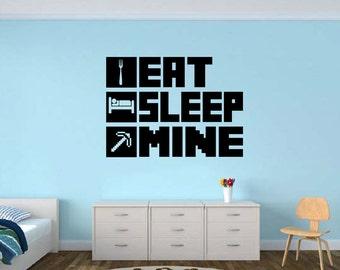 EAT SLEEP MINE Gamer wall decal - Gamer Room Wall Vinyl Decal Sticker #ESM2