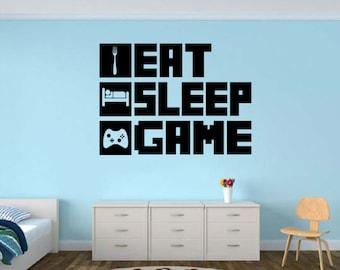 EAT SLEEP GAME Gamer wall decal - Gamer Room Wall Vinyl Decal Sticker #ESg