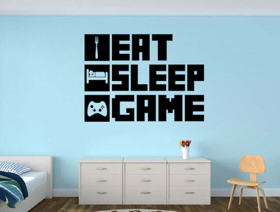 eat sleep game gamer wall decal gamer room wall vinyl decal | etsy