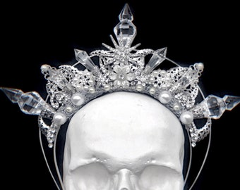Elven Star Crown Silver fantasy halo with crystals Gothic wedding headpiece Pagan wedding crown Witch goddess halo High elf cosplay crown