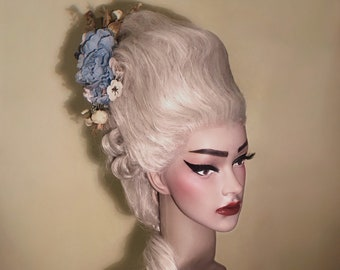 Marie-Antoinette wig - Historical wig- Rococo wig - 18th century Decorated wig - Styled wig with flowers - carnival wig - blonde wig