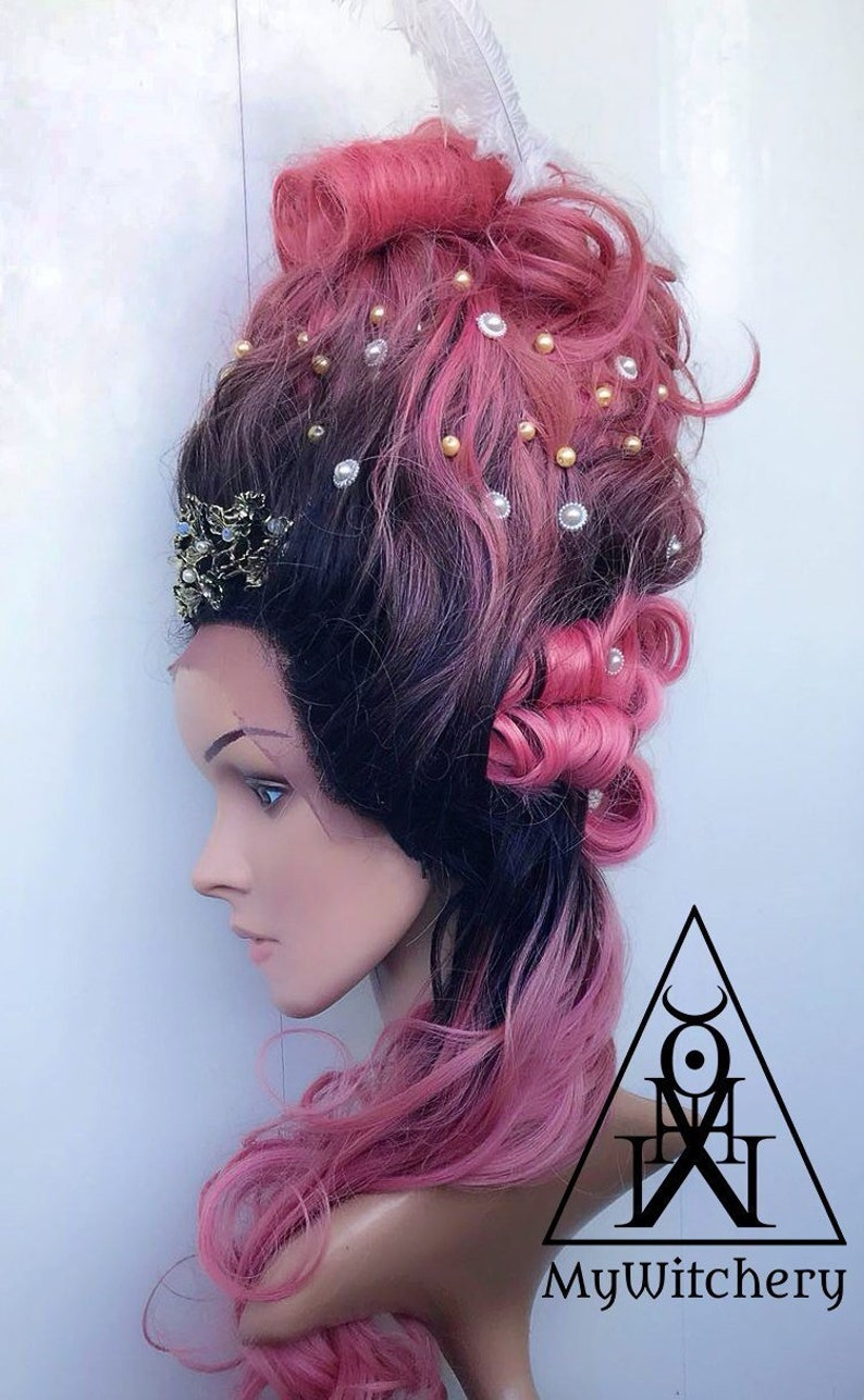 14db52599e4a4 18th century Marie-Antoinette inspired wig Rococo wig Styled wig Baroque  wig Pink Ombré french wig Vampire wig Fantasy wig Drag