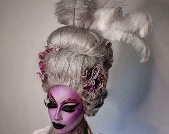 READY TO SHIP Marie-Antoinette wig - Rococo styled wig with flowers and feathers - 18th century wig - Grey wig - Carnival wig