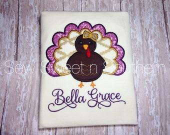 Turkey/Thanksgiving applique, Thanksgiving shirt with name. Purple/gold thanksgiving turkey shirt.