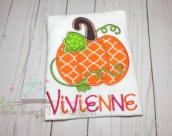 Girly pumpkin embroidered shirt, trible pumpkin, fall appliqued shirt, thanksgiving pumpkin shirt.