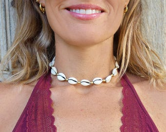 Cowrie Shell Necklace, Cowrie Shell Choker, Cowrie Necklace, Cowrie Choker, Cowrie Shell Jewelry, Shell Jewelry, Boho Necklace
