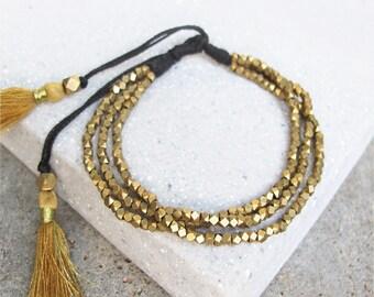 Beaded Tassel Bracelet, Gold Tassel Bracelet, Boho Bracelet, Tassel Bracelet, Friendship Bracelet, Tassel Jewelry,Boho Jewelry