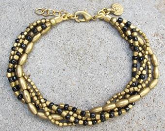 Black and Gold Bracelet, Beaded Black Bracelet, Beaded Bracelet, Tribal Bracelet, Boho Bracelet, Tribal Jewelry