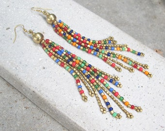 Long Colorful Beaded Earrings, Colorful Beaded Tassel Earrings, Long Beaded Tassel Earrings