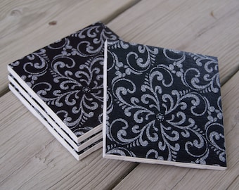 Black and Silver Ceramic Coasters