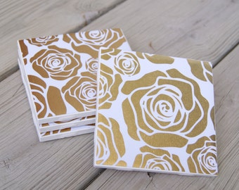 Gold Rose Pattern Ceramic Tile Coasters
