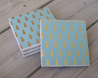 Light Blue and Gold Pineapple Tile Coasters