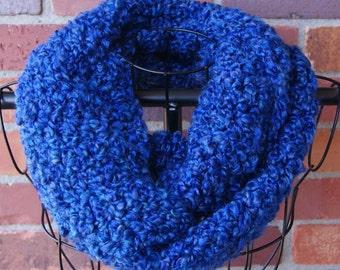 Dark Blue Crochet Infinity Scarf