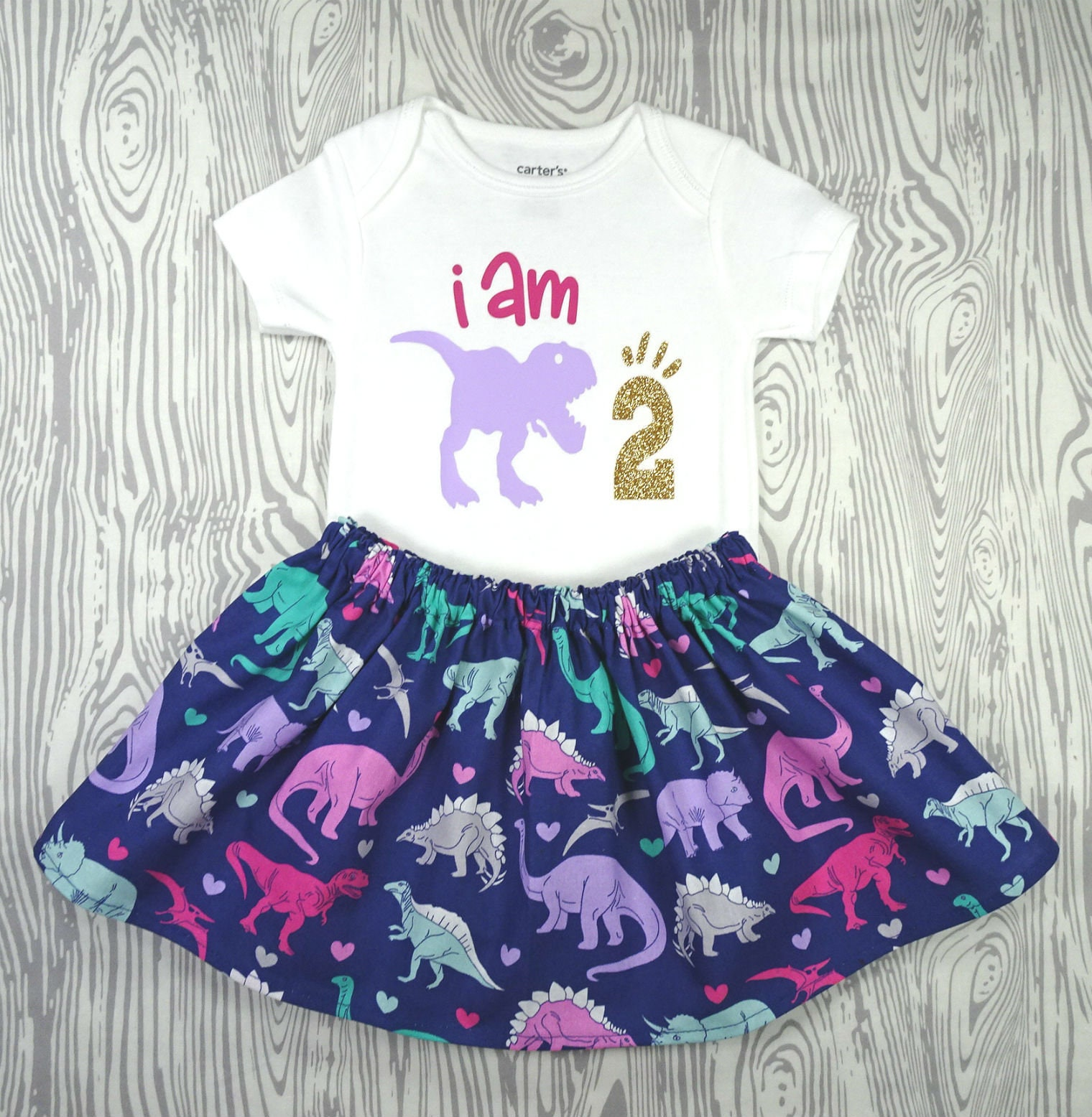 Handmade-Unique-100/% Cotton Navy Dinosaur Dress plus Long Sleeved Bodysuit