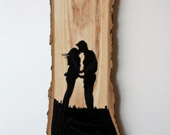 Valentines Wall Hanging 17 featuring Hand Painted Silhouette of Lovers Kissing - Hardwood with Live Edge
