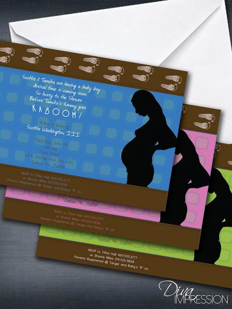 Baby Boy Baby Girl Invitation Diva Impression Baby Shower Gender Neutral Baby Shower Invitation Pregnant Belly Baby Shower Invitation