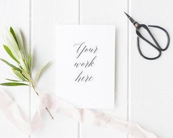 Download Free Card mockup - Stock photography - Wedding theme - Modern, minimal and feminine - High Res Jpeg file 300Dpi - weddings, card, invitation PSD Template