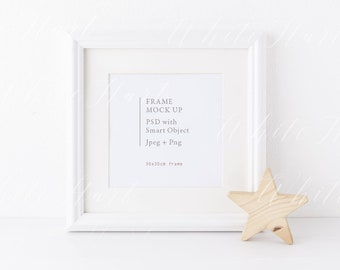 Download Free White square frame mock up - 30x30cm - Styled stock photography - High Res Jpeg file + PSD with smart object + Png file - Nursery style PSD Template