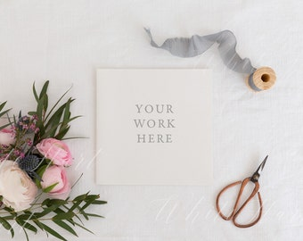 Download Free Styled stock photography - Square stationery mockup - Rustic, trendy and subtle - High Res Jpeg file 300Dpi - weddings, card, invitation PSD Template