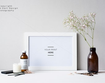 Download Free Landscape white frame mockup - Floral rustic minimal feel - High res Jpeg and Psd with Smart Object PSD Template