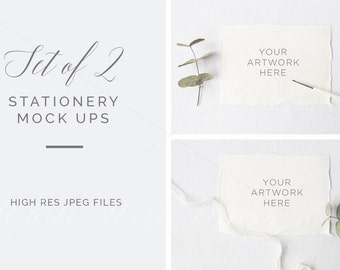 SET of 2 stationery mockups - Rustic and feminine - High Res Jpeg file 300Dpi
