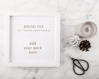 "Square frame mockup - 7x7"" - Psd smart object + Png + Jpeg - Showcase your work online with online mockups - instant download"