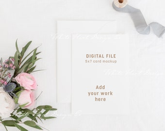 5x7 wedding card mockup - Psd smart object + Png + Jpeg - Showcase your work online with this instant download mockup