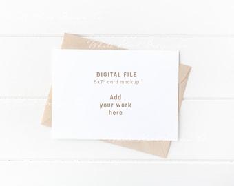 "5X7"" stationery mockup - landscape white card - kraft envelope - Psd smart object + Png + Jpeg - weddings, card, invitations"