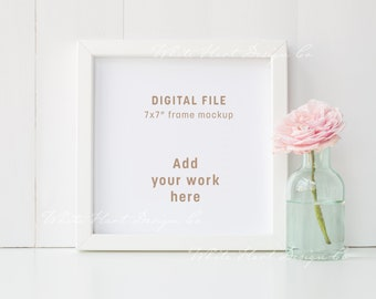 """7x7"""" white square frame mockup - floral theme - Psd smart object + Png + Jpeg - Instant download"""