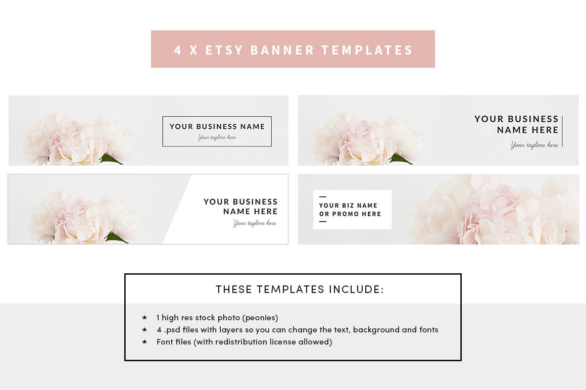 Etsy Shop Banner Template With Floral Stock Photo Included And Etsy