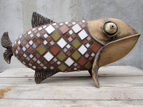 Ceramic Fish with glass mosaic scales