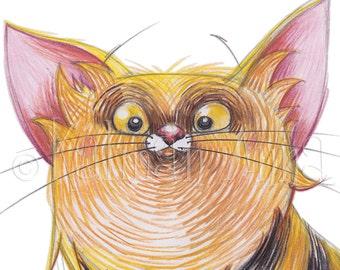 Striped fat cat - Art print