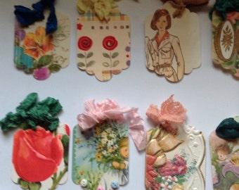 Handmade vintage 10 assorted gift tags