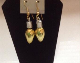 Christmas light bulb pierced earrings