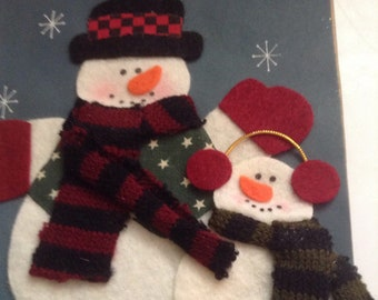 Christmas note card snowman unused+env